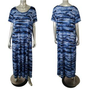 H by Halston Blue Pullover Maxi Dress Size L